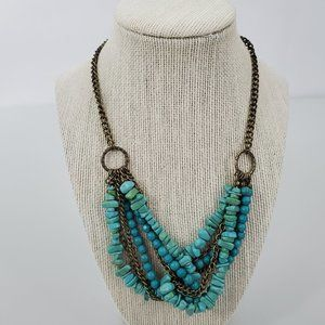 Blue Beaded Necklace Chain Statement Gold Tone Sou